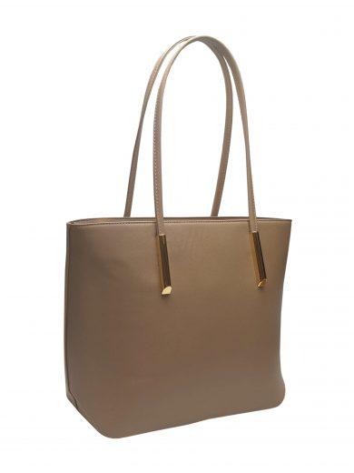 Elegantní kabelka s odolným povrchem Tapple H17429 šedohnědá přední strana