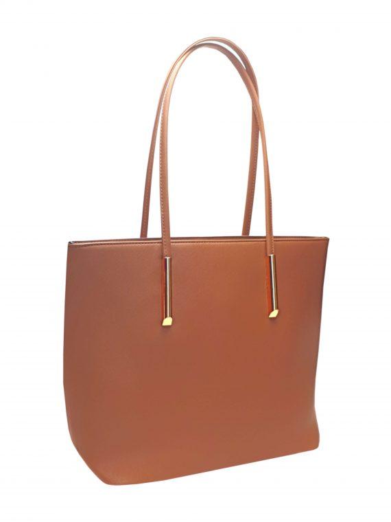 Elegantní kabelka s odolným povrchem Tapple H17429 středně hnědá přední strana