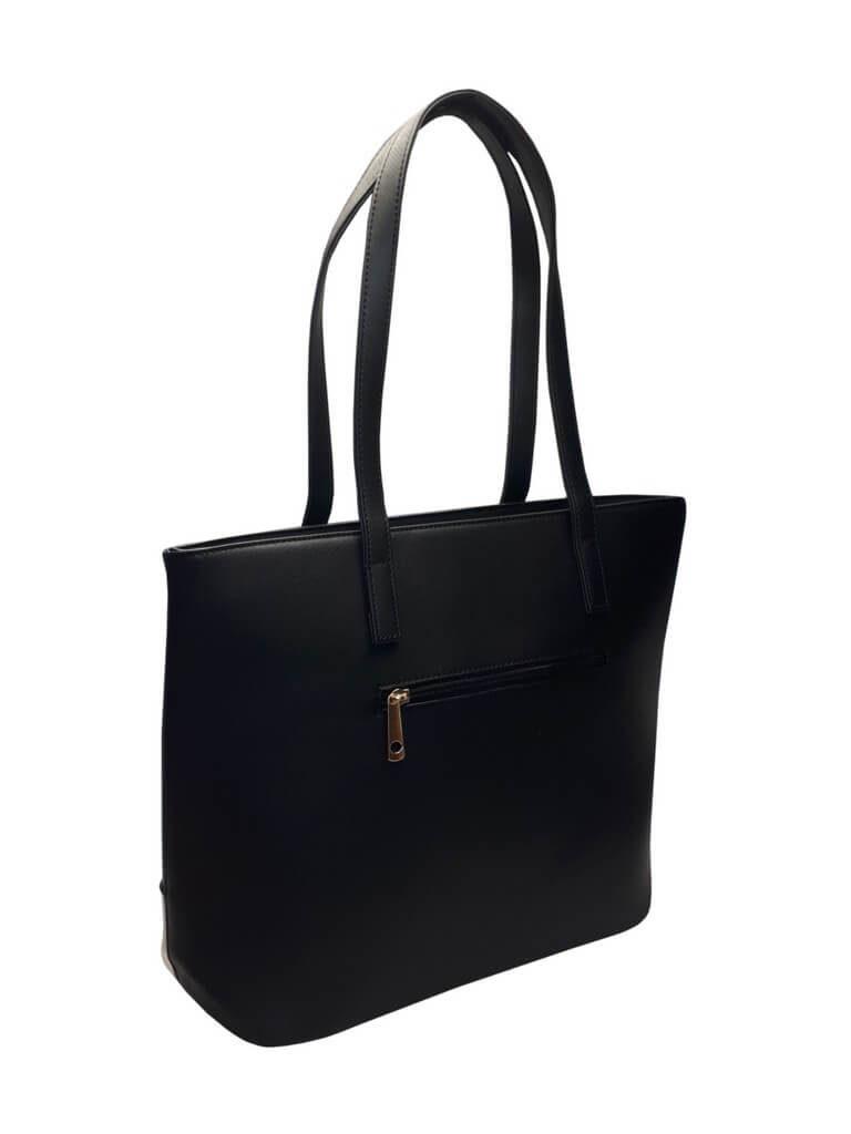 Slušivá dvoubarevná kabelka přes rameno Tapple H17419 černá zadní strana