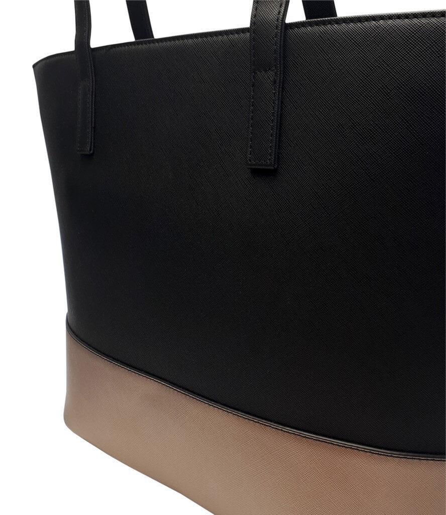 Slušivá dvoubarevná kabelka přes rameno Tapple H17419 černá detail vzoru