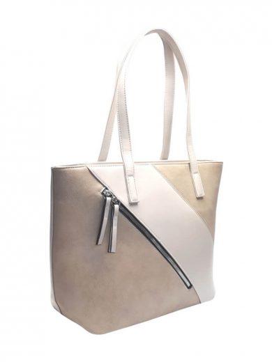 Stylová kabelka přes rameno s šikmým zipem Tapple H17411 krémová přední strana