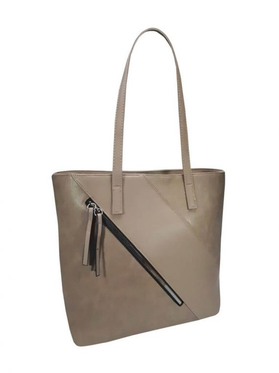 Stylová kabelka přes rameno s šikmým zipem Tapple H17411 šedohnědá přední strana