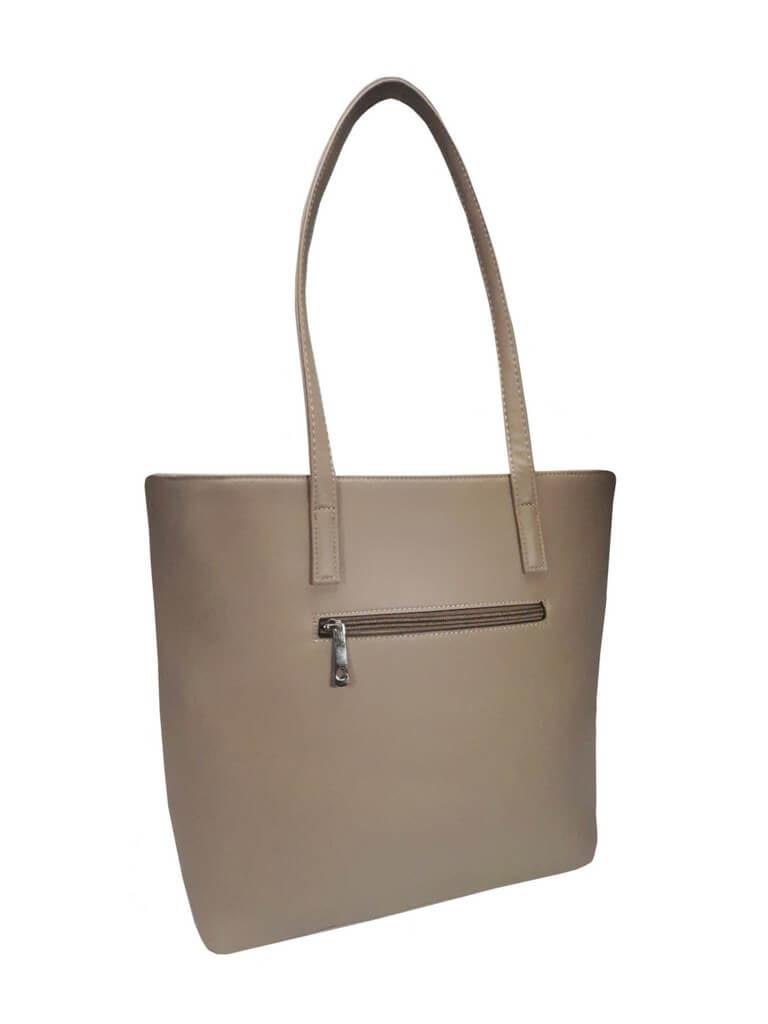 Stylová kabelka přes rameno s šikmým zipem Tapple H17411 šedohnědá zadní strana