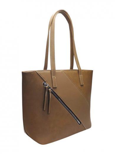 Stylová kabelka přes rameno s šikmým zipem Tapple H17411 středně hnědá přední strana