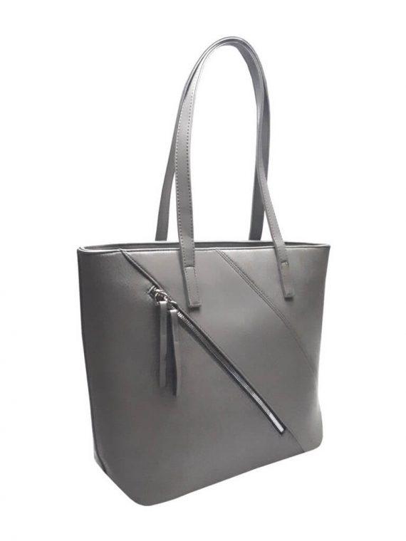 Stylová kabelka přes rameno s šikmým zipem Tapple H17411 středně šedá přední strana
