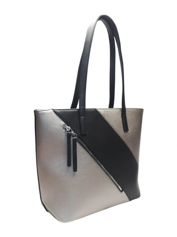 Stylová kabelka přes rameno s šikmým zipem Tapple H17411 stříbrná přední strana