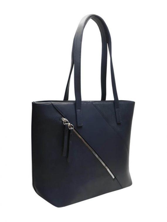 Stylová kabelka přes rameno s šikmým zipem Tapple H17411 tmavě modrá přední strana