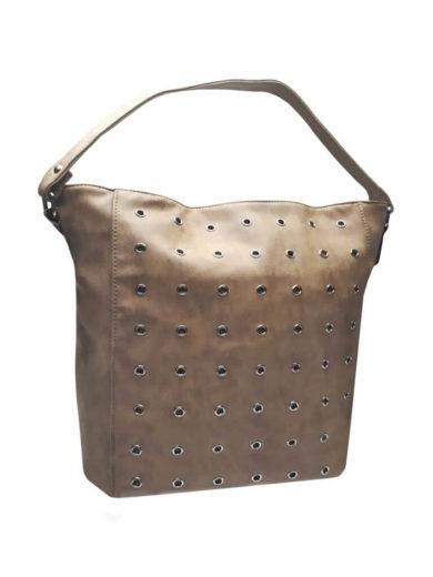 Broušená kabelka na rameno Tapple M9001 středně hnědá přední strana