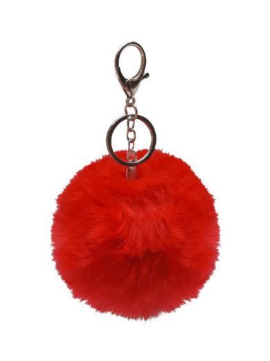 Chlupatá bambulka na kabelku nebo klíče červená