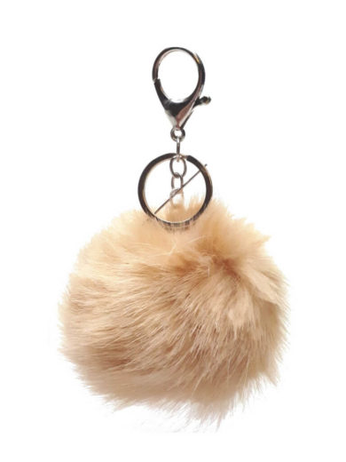 Chlupatá bambulka na kabelku nebo klíče krémová