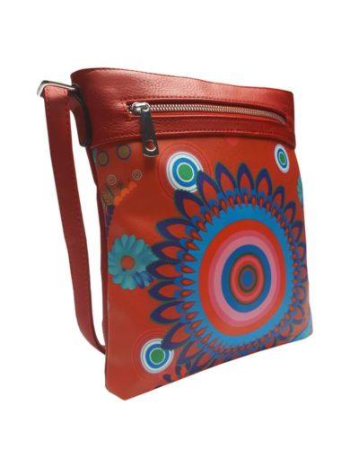 Crossbody kabelka s barevným vzorem Tapple 2010E červená přední strana