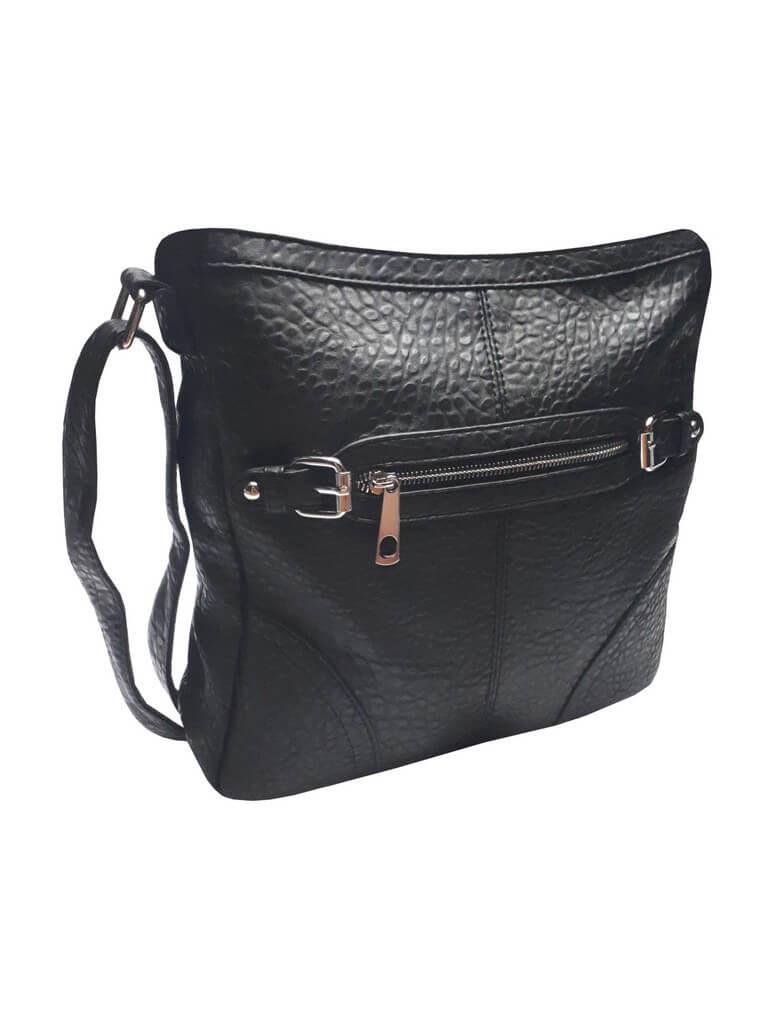Crossbody kabelka s krokodýlím vzorem Tapple C014-2 černá přední strana