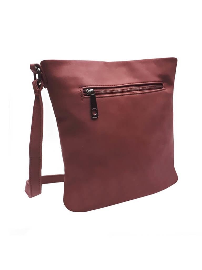 Crossbody kabelka s třásněmi Tapple R823 bordó zadní strana