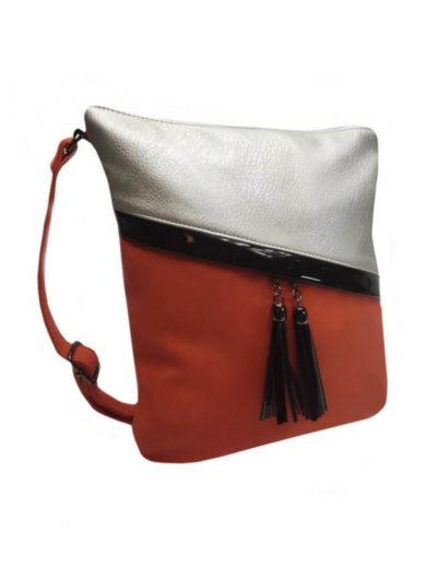 Crossbody kabelka se šikmými zipy Tapple H16183 červená přední strana