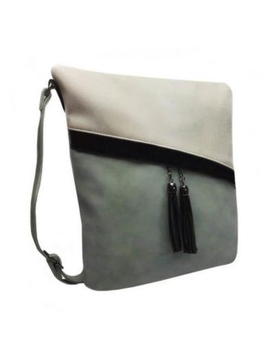 Crossbody kabelka se šikmými zipy Tapple H16183 modrozelená přední strana