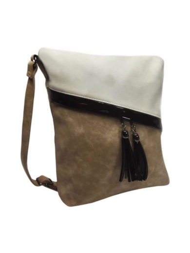 Crossbody kabelka se šikmými zipy Tapple H16183 světle hnědá přední strana
