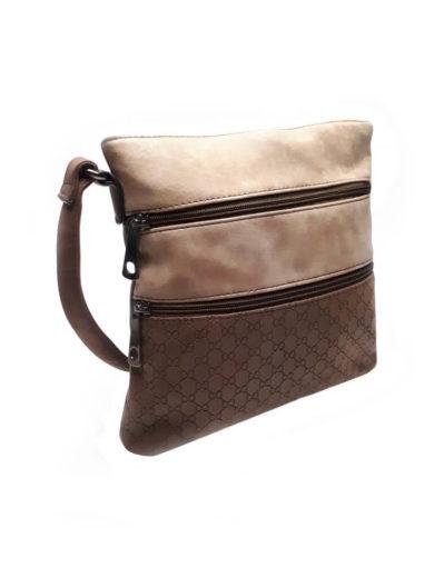 Crossbody kabelka se vzorem Tapple H16083 tmavě hnědá přední strana
