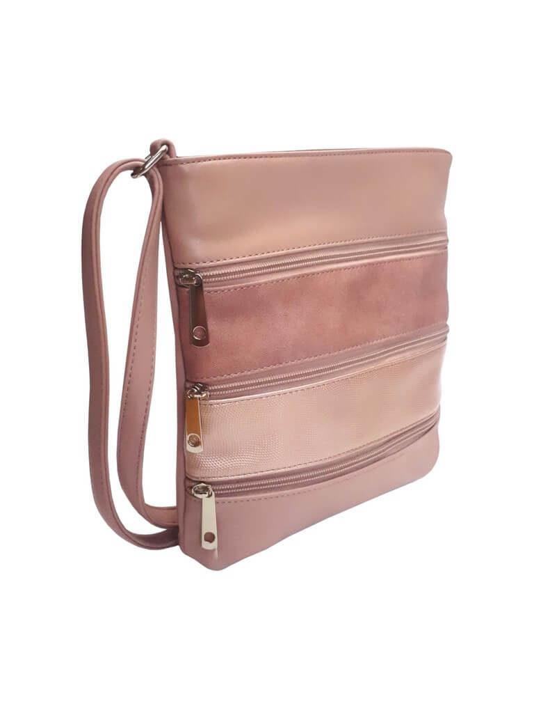 Crossbody kabelka z jemné eko kůže Tapple H17286 starorůžová přední strana