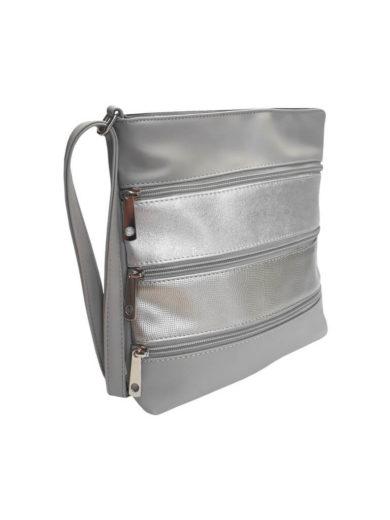 Crossbody kabelka z jemné eko kůže Tapple H17286 stříbrná přední strana