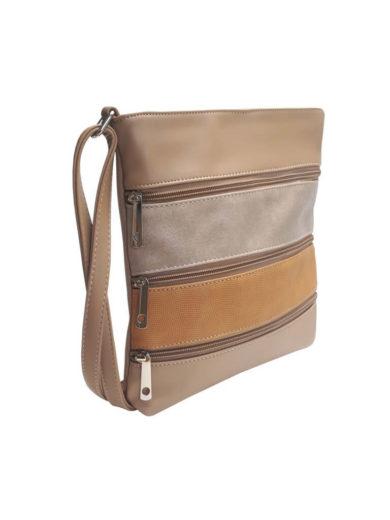 Crossbody kabelka z jemné eko kůže Tapple H17286 světle hnědá přední strana