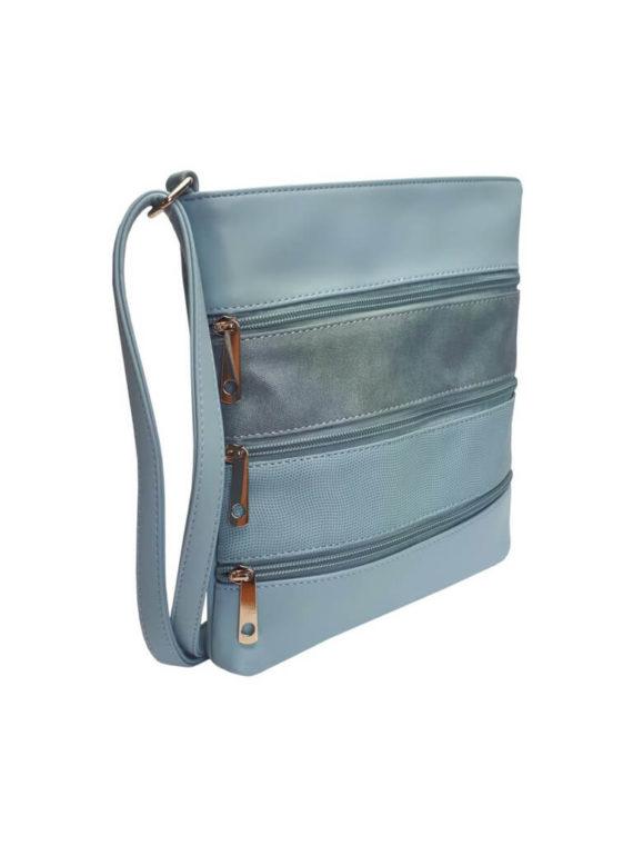 Crossbody kabelka z jemné eko kůže Tapple H17286 světle modrá přední strana