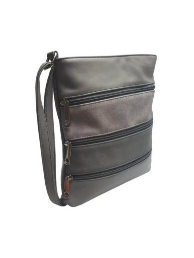 Crossbody kabelka z jemné eko kůže Tapple H17286 světle šedá přední strana