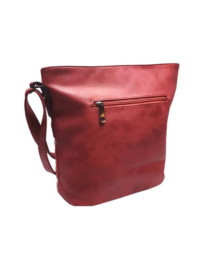 Elegantní třpytivá kabelka Tapple H16179 bordó zadní strana