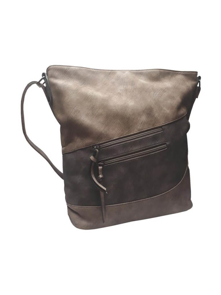 Luxusní velká kabelka z eko kůže Tapple H17104 středně hnědá přední strana