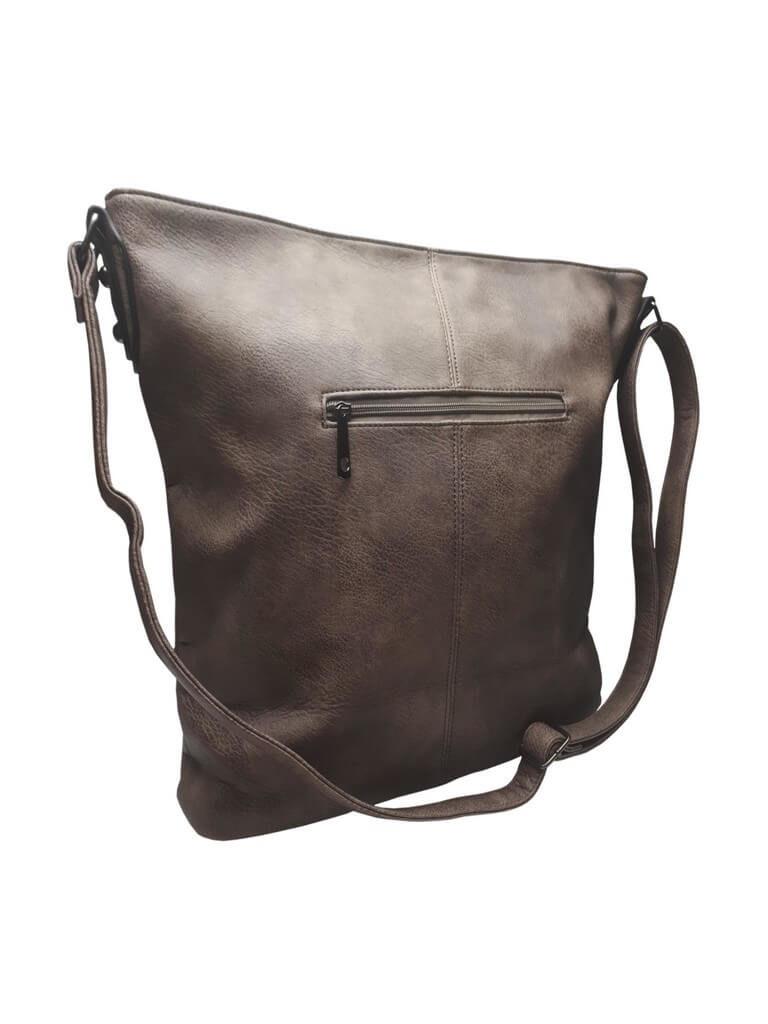 Luxusní velká kabelka z eko kůže Tapple H17104 středně hnědá zadní strana