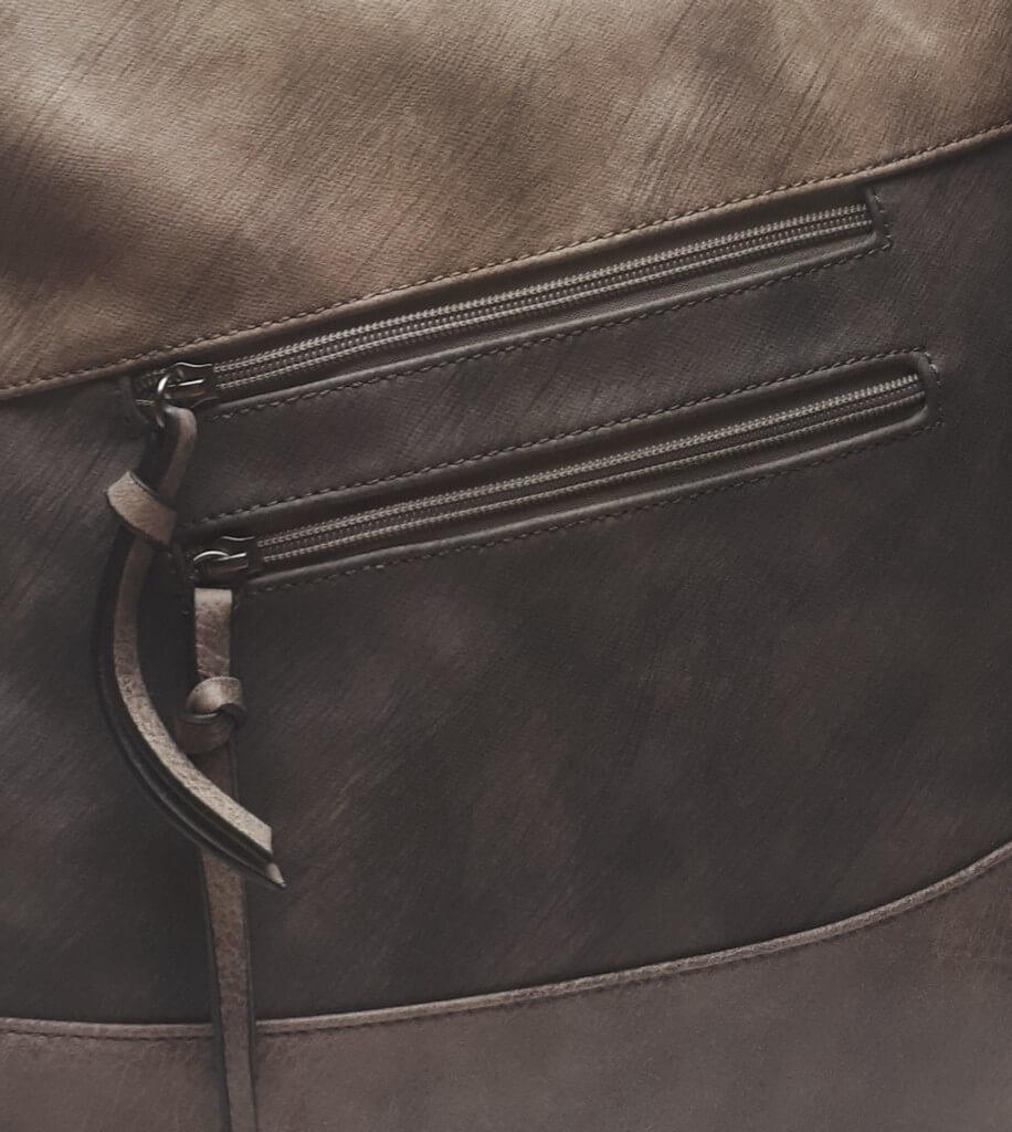 Luxusní velká kabelka z eko kůže Tapple H17104 středně hnědá detail vzoru