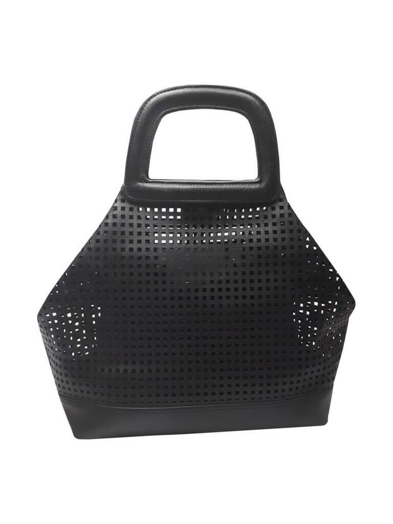 Moderní perforovaná kabelka přes rameno Tapple 3092 černá složená kabelka