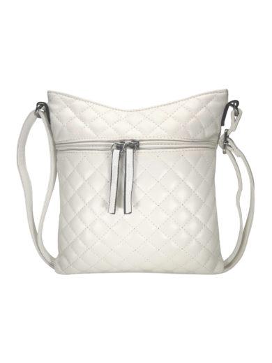 Crossbody kabelka s kosočtvercovým vzorem Tapple H17307 bílá přední strana