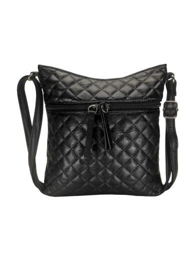 Crossbody kabelka s kosočtvercovým vzorem Tapple H17307 černá přední strana