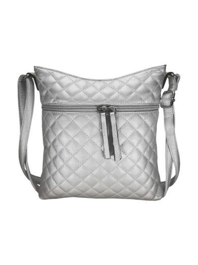 Crossbody kabelka s kosočtvercovým vzorem Tapple H17307 stříbrná přední strana