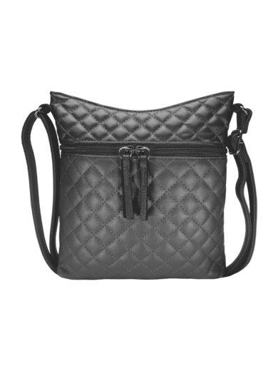 Crossbody kabelka s kosočtvercovým vzorem Tapple H17307 tmavě šedá přední strana