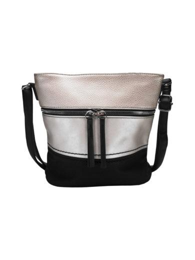 Crossbody kabelka s moderním vzorem Tapple H1774 černobílá přední strana