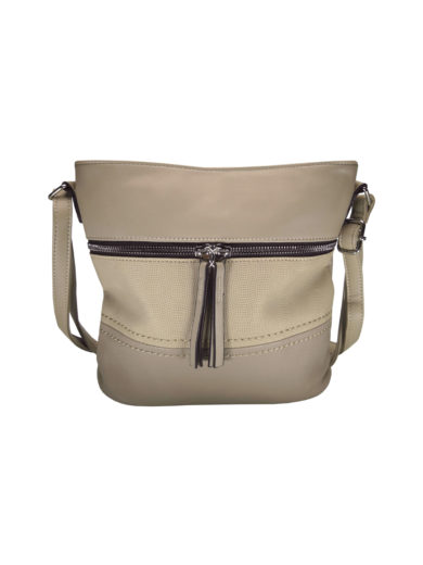 Crossbody kabelka s moderním vzorem Tapple H1774 šedohnědá přední strana