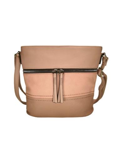 Crossbody kabelka s moderním vzorem Tapple H1774 středně růžová přední strana