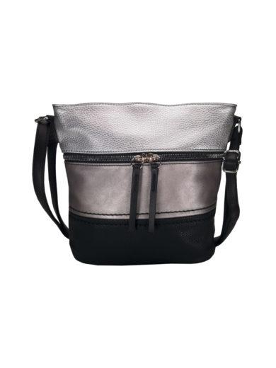 Crossbody kabelka s moderním vzorem Tapple H1774 stříbrná přední strana