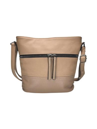 Crossbody kabelka s moderním vzorem Tapple H1774 světle hnědá přední strana