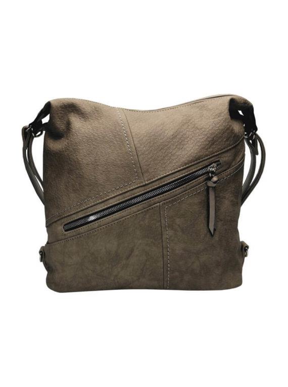 Velký dámský kabelko-batoh z eko kůže Tapple H18077 šedohnědý přední strana