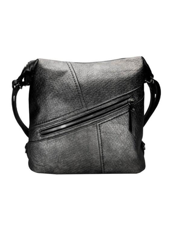 Velký dámský kabelko-batoh z eko kůže Tapple H18077 stříbrný přední strana
