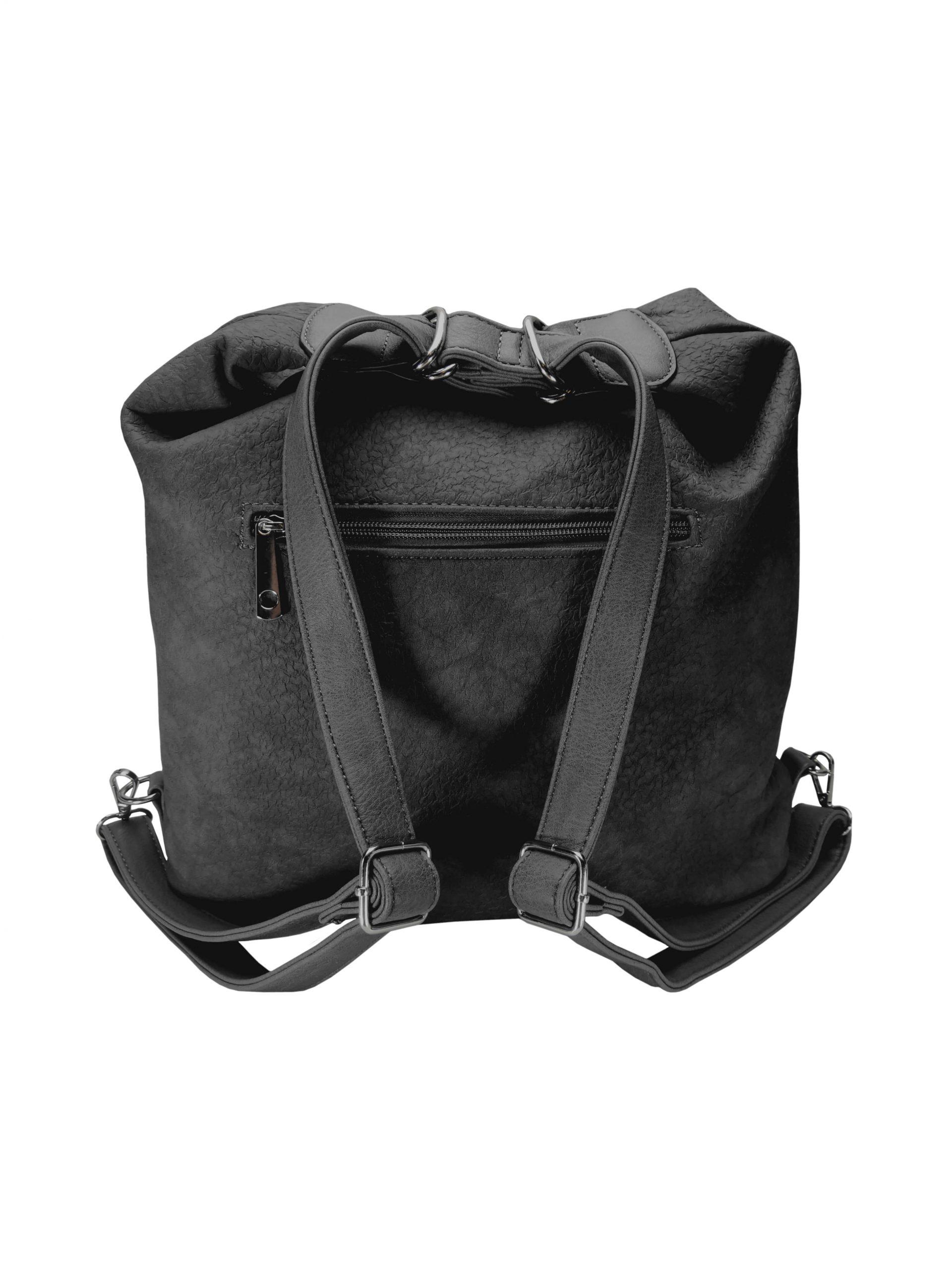 Velký dámský kabelko-batoh z eko kůže Tapple H18077 tmavě šedý zadní strana s popruhy