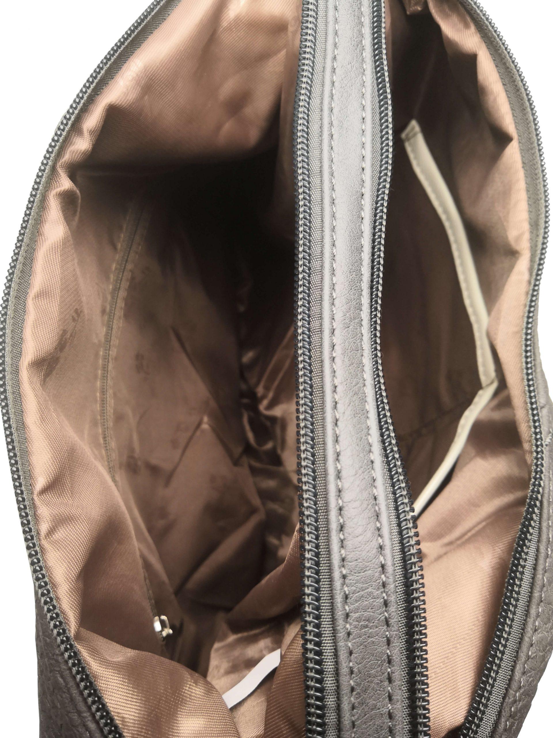 Velký dámský kabelko-batoh z eko kůže Tapple H18077 tmavě šedý vnitřní polstrování