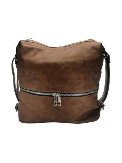 Moderní dámský kabelko-batoh z eko kůže Tapple H190010 tmavě hnědý přední strana