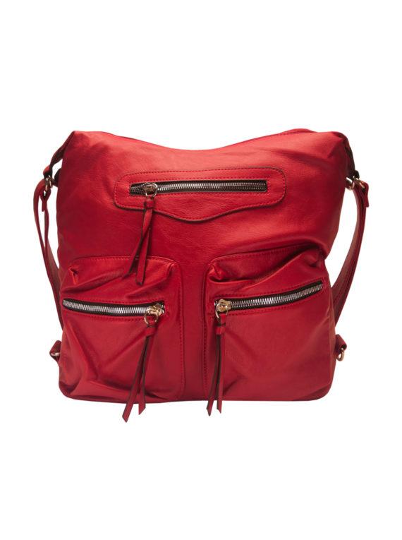Praktický dámský kabelko-batoh s kapsami Tapple H181177 červený přední strana