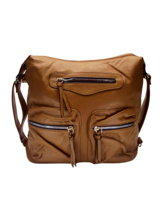 Praktický dámský kabelko-batoh s kapsami Tapple H181177 středně hnědý přední strana