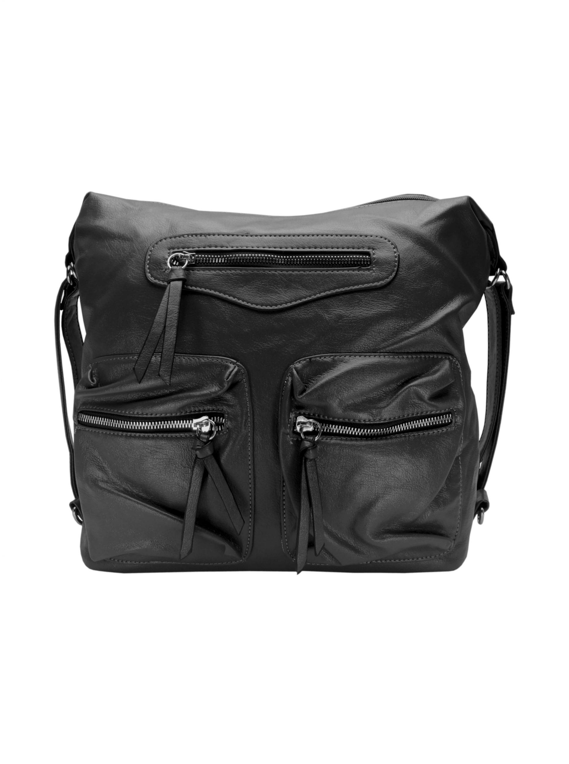 Praktický dámský kabelko-batoh s kapsami Tapple H181177 tmavě šedý přední strana