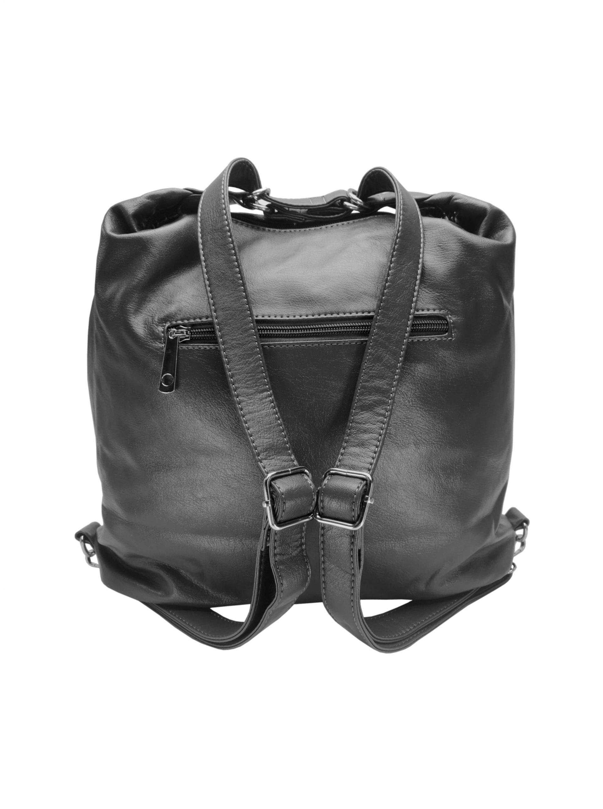 Praktický dámský kabelko-batoh s kapsami Tapple H181177 tmavě šedý zadní strana s popruhy