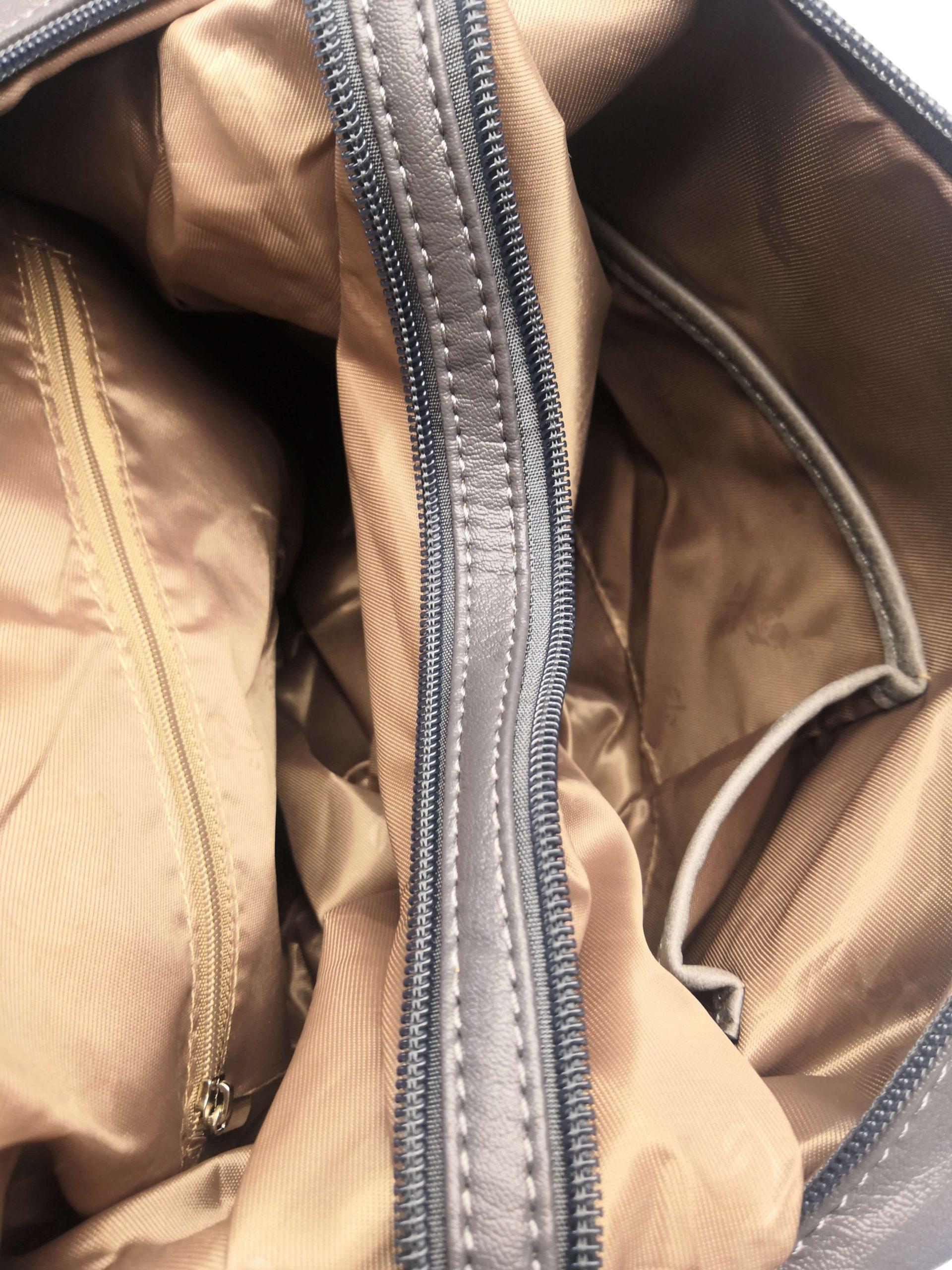 Praktický dámský kabelko-batoh s kapsami Tapple H181177 tmavě šedý vnitřní polstrování